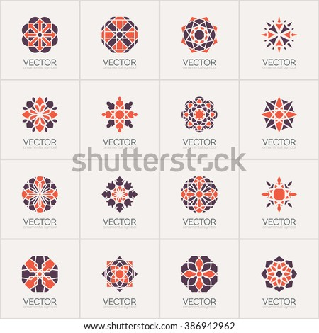 Geometric logo template set. Vector circular arabic ornamental symbols