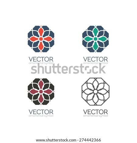 Geometric logo template set. Vector ornamental symbols - stock vector