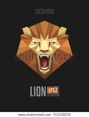 Geometric Low Polygon Style Lion Majestic Roaring Looking Face Head Mascot Logo Icon Origami