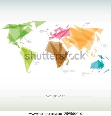 geometric map of the world   - stock vector