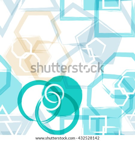 Geometric modern seamless pattern. Grunge texture. Circles. Vector illustration. Abstract geometric shapes