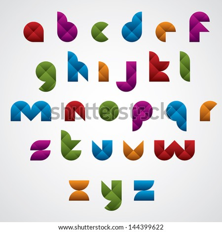 Geometric modern style digital letters alphabet made with rhombuses, vector font. - stock vector
