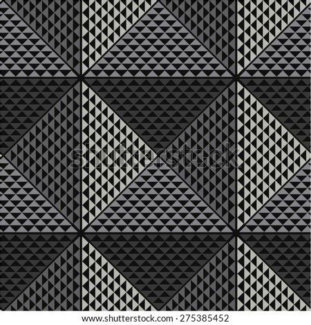 Geometric monochrome pattern of triangles, seamless vector background. - stock vector