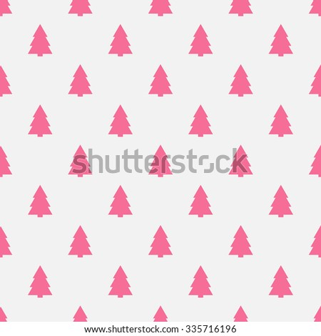 Geometric monochrome seamless pattern with pink Christmas tree for white winter holidays design. Modern Christmas pattern. Vector stylish background. - stock vector