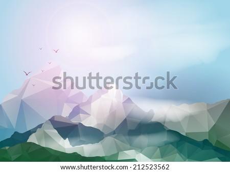 Geometric Mountain Background - Vector Illustration - stock vector