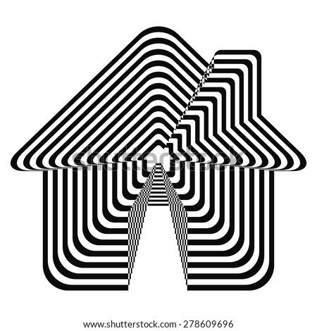 Geometric optical illusion black and white house on a white background. Vector illustration - stock vector