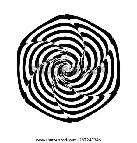 Geometric optical illusion black and white spiral flower on a white background. Vector illustration - stock vector
