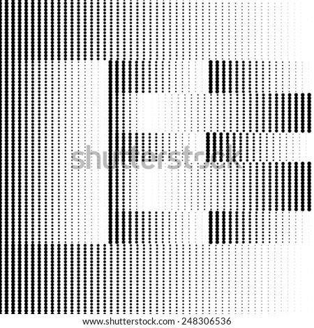 Geometric Optical Illusion Letter E - stock vector