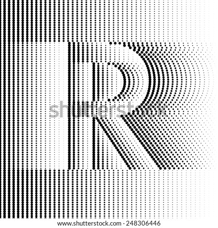 Geometric Optical Illusion Letter R - stock vector