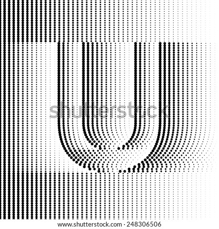 Geometric Optical Illusion Letter U - stock vector