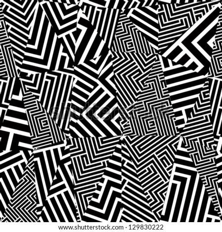 Geometric optical seamless pattern, black and white vector background. - stock vector