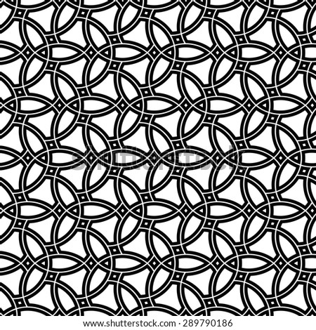 Geometric ornament. Seamless vector background. Abstract repeating geometric black and white pattern - stock vector