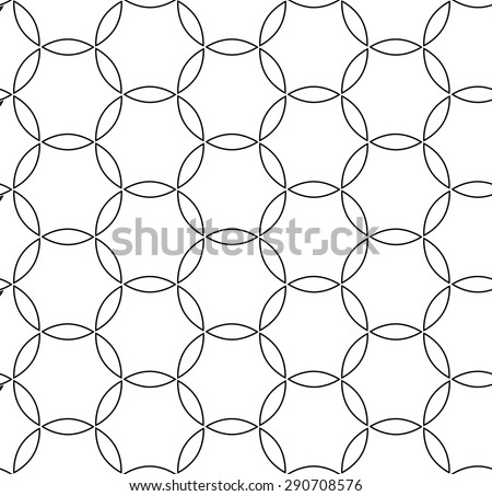Geometric ornament. Seamless vector background. Abstract repeating geometric pattern with black lines - stock vector