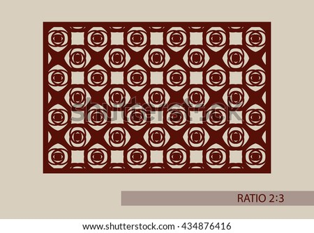 Geometric ornament. The template pattern for decorative panel. A picture suitable for printing, engraving, laser cutting paper, wood, metal, stencil manufacturing. Vector