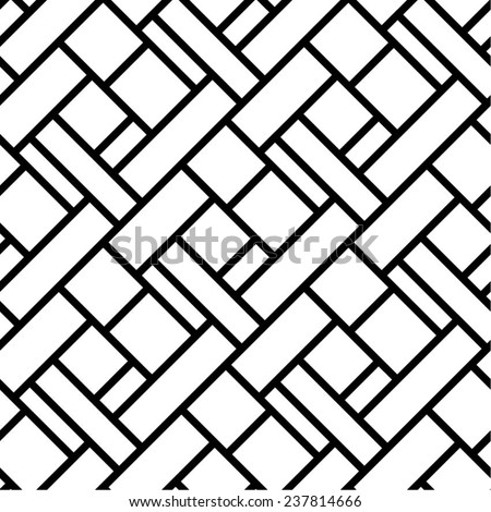 Geometric pattern, square rectangle diagonal black-white background, vector. - stock vector