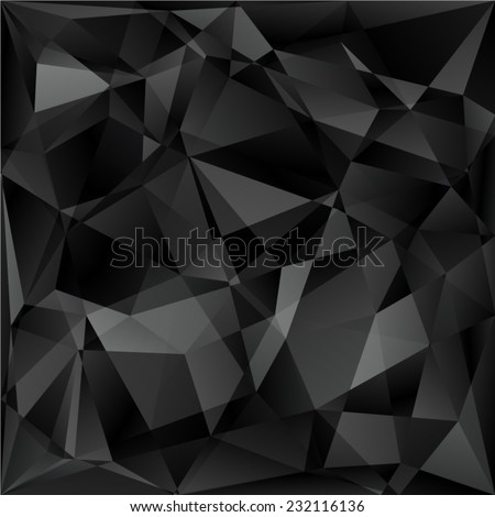 Geometric pattern, triangles vector background in black and gray tones. - stock vector
