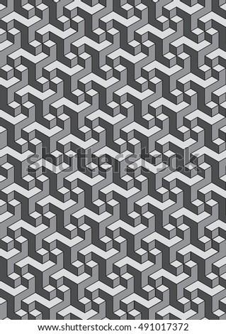 Geometric Pattern Vector 3D Background Texture Dotwork Style Tattoo Design
