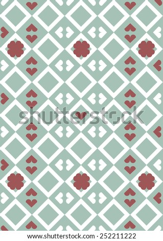 geometric pattern with hearts - stock vector
