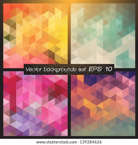 Geometric patterns set. Colorful abstract mosaic backgrounds. Vector illustration EPS 10. - stock vector