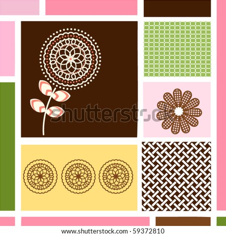 Geometric patterns with organic flowers - stock vector