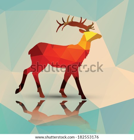 Geometric polygonal deer, pattern design, vector illustration - stock vector
