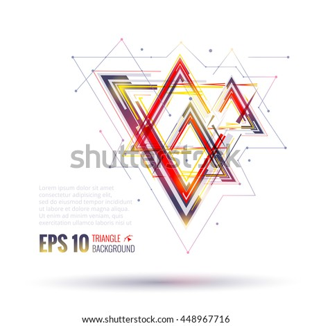Geometric polygonal elements. Scientific future technology concept. Template with triangles. Infographic elements. Design layout for business cards, websites, presentations, flyers and posters - stock vector