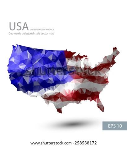 Geometric polygonal style vector map of the USA. USA flag overlay on USA map with geometric polygonal design. - stock vector