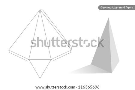 geometric pyramid figure for school - stock vector