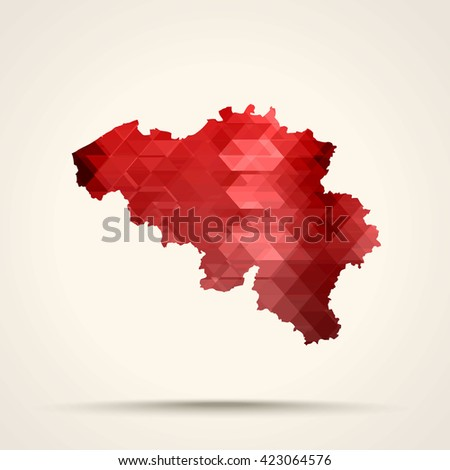 Geometric red map of Belgium flag colors