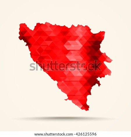 Geometric red map of Bosnia and Herzegovina flag colors