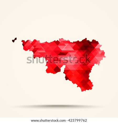 Geometric red map of Wallonia flag colors