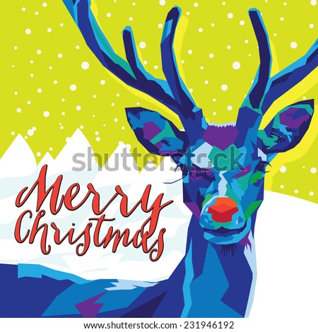 Geometric Reindeer on Green with Snow and Merry Christmas Text - stock vector