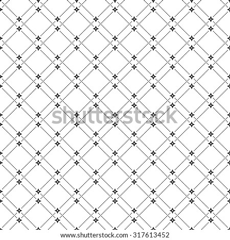 Geometric repeating vector ornament with diagonal dots. Seamless abstract modern black and white pattern - stock vector