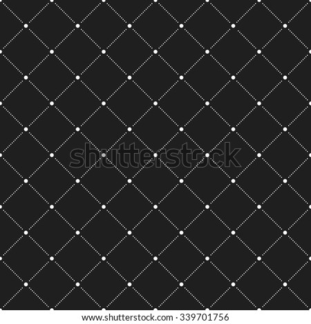 Geometric repeating vector ornament with diagonal dots. Seamless abstract modern black and white pattern