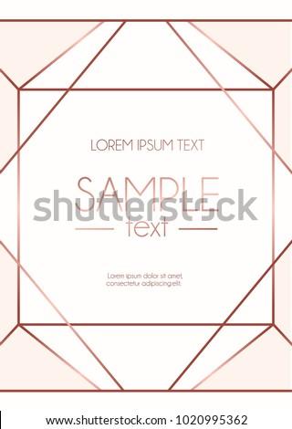 Geometric Rose Gold Design Template Modern Stock Vector ...
