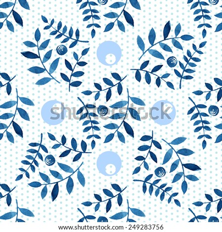 Geometric seamless abstract pattern. Denim circles on a white background. Drawn with colored pencils. - stock vector