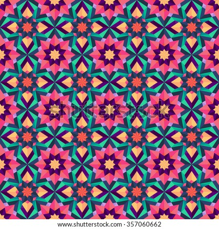 Geometric seamless background of abstract flowers. Triangle pattern, repeating floral print. Botanic texture for web page background, fabric, wallpaper, scrapbook, clothing, cover, and more. Vector - stock vector