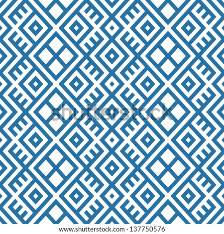 geometric seamless ethnic pattern background in blue and white colors, vector illustration
