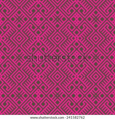 geometric seamless ethnic pattern background in brown and magenta colors, vector illustration  - stock vector