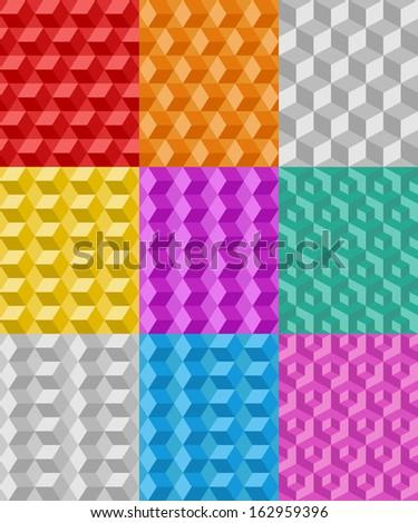 Geometric Seamless Patterns - SET 1 - stock vector