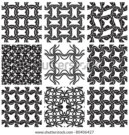 Geometric seamless patterns set, black and white. Vector backgrounds collection. - stock vector