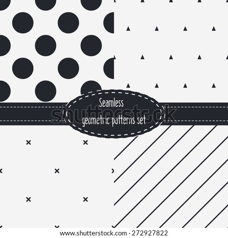 Geometric Seamless Patterns Set. Dark and light grey colors. Black and White. Monochrome backgrounds bundle pack. - stock vector