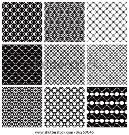 Geometric seamless patterns set, vector backgrounds collection. - stock vector