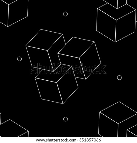 Geometric, seamless, simple, monochrome, minimalistic, pattern of impossible cube shapes
