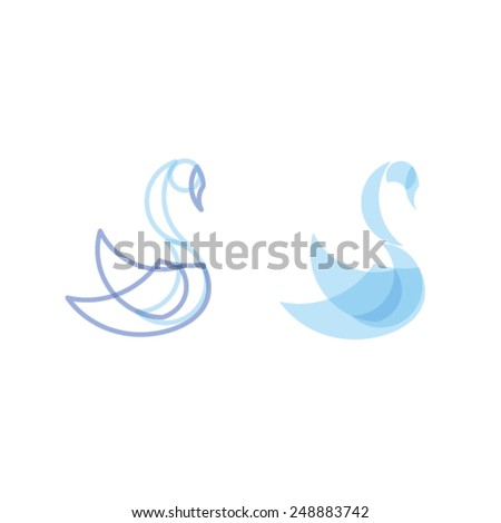 Geometric set vector animals. Swan isolated on white. - stock vector
