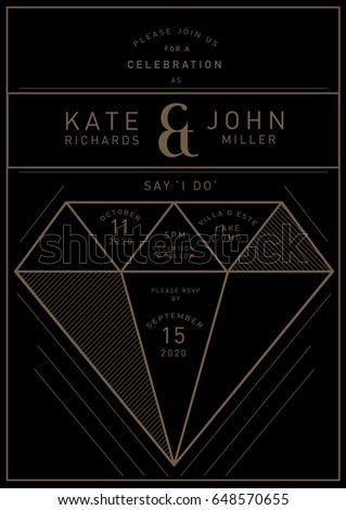 Geometric shape gem diamond wedding invitation stock vector 2018 geometric shape gem diamond wedding invitation card template vector illustration stopboris Choice Image