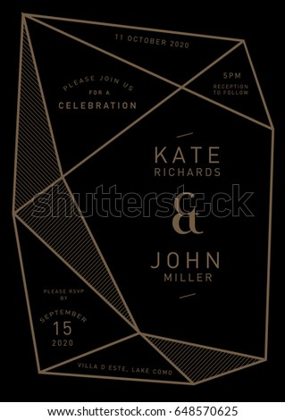 Geometric shape wedding invitation card template stock vector geometric shape wedding invitation card template vectorillustration stopboris Choice Image