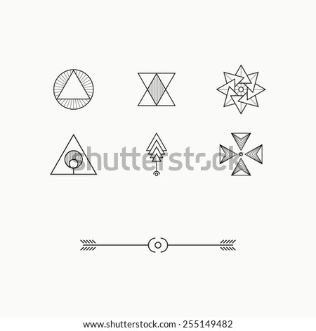 Geometric Shapes Line Design, Design Elements - stock vector