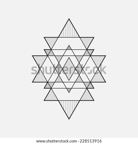 Geometric shapes, line design, triangle - stock vector
