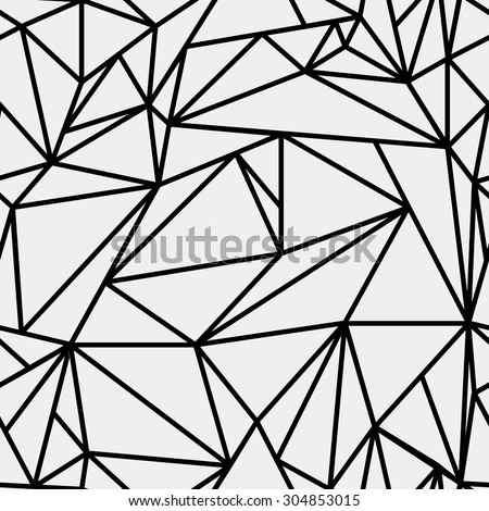 Geometric simple black and white minimalistic pattern triangles or stained glass window can